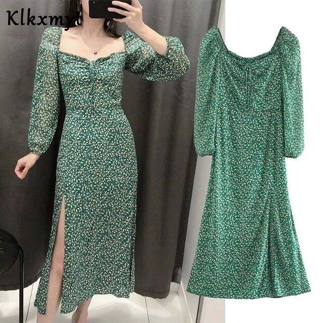 Klkxmyt summer dress women high street vintage print square collar party midi za dress vestidos de fiesta de noche vestidos 1