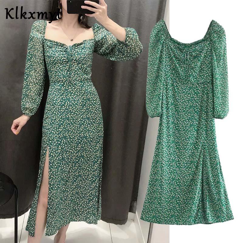 Klkxmyt robe de soirée vintage pour femmes, col carré, imprimé vintage, tenue de soirée mi longue, été | AliExpress