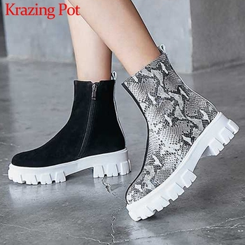 Krazing Pot soft cow suede thick bottom waterproof mixed colors snake round toe winter women high fashion warm ankle boots L41