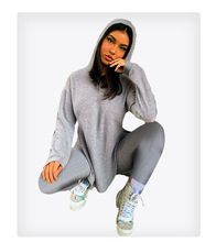 Fashion Women Hooded Two Piece Set Crop Top Sweater + Long Pants Sportsuit Tracksuit Winter Clothes Women Outfit