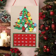 60x90cm Christmas Tree Felt Advent Calendar Countdown to Homemade Party Decoration