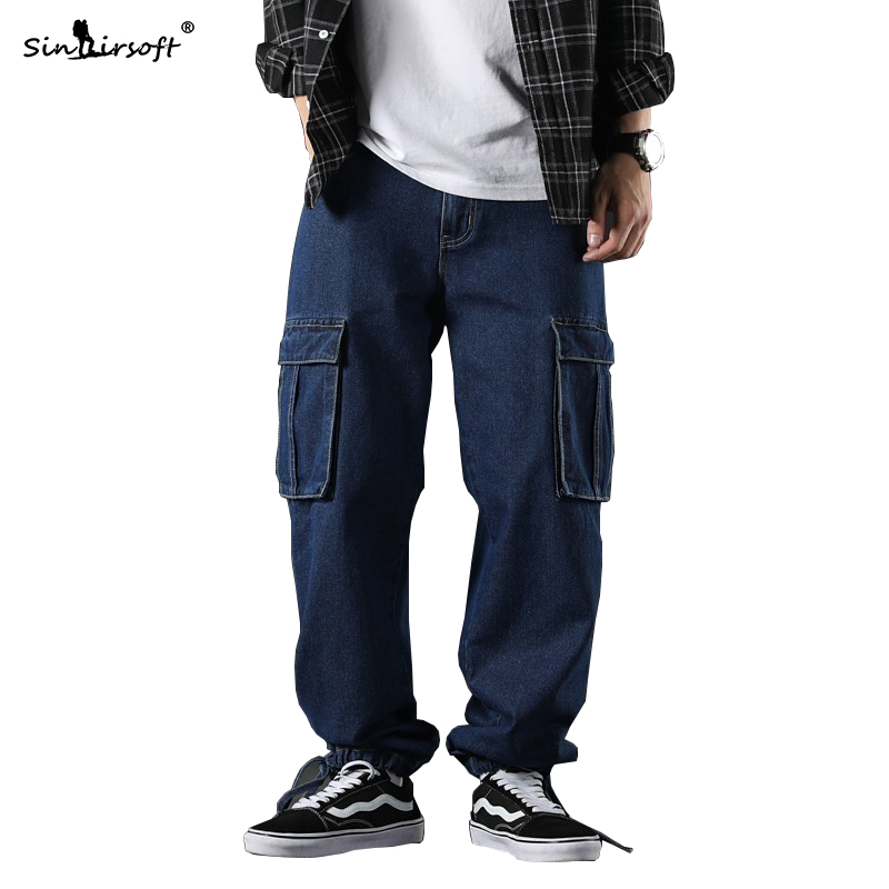 High Waist Solid Blue Wide Leg Pants Men Taper Foot Openning Male Loose Full Length Streetwear Toursers Side Big Pocket Fashion