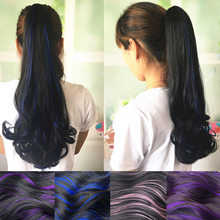 WEILAI Wig ponytail big wave curly ponytail female pear flower roll grip type highlights color roll ponytail claw clip(China)