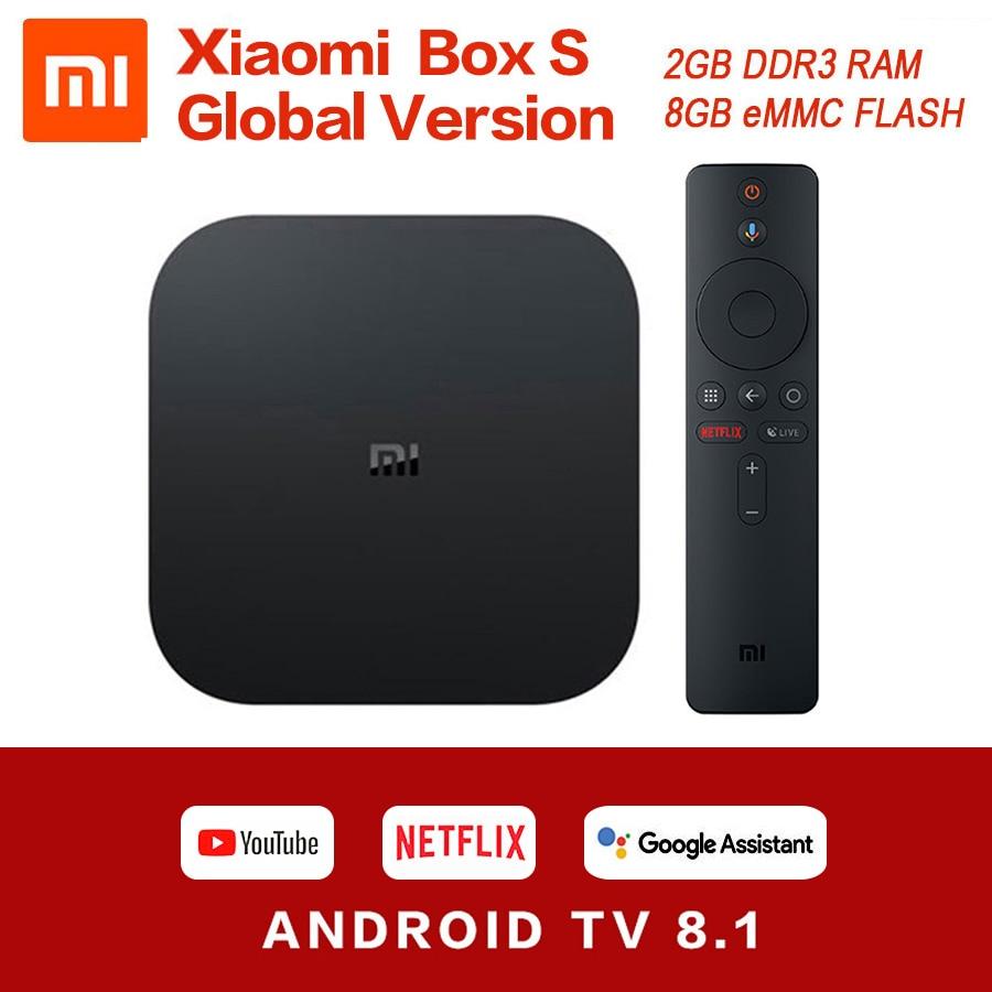 Global Original Xiaomi Mi Box S 4K HDR Android TV 8.1 Mi Boxs 2G 8G WIFI Google Cast Netflix IPTV Set Top Mi Box 4 Media Player