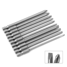 10 Pcs Magnetic Slotted PH2 Screwdriver Bit S2 Steel 1/4 Hex Shank 100mm