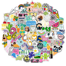 100PCS Cool Summer Vsco Stickers Pack Pink Girl Anime Stiker for Children on The Laptop Fridge Phone Skateboard Suitcase Sticker