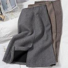 Цветная юбка выше колена в контрастную клетку модная шерстяная