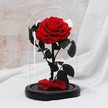 Превосходное качество Красавица и Чудовище розы вечные цветы в стеклянном куполе Рождество украшения День Святого Валентина подарок на день рождения