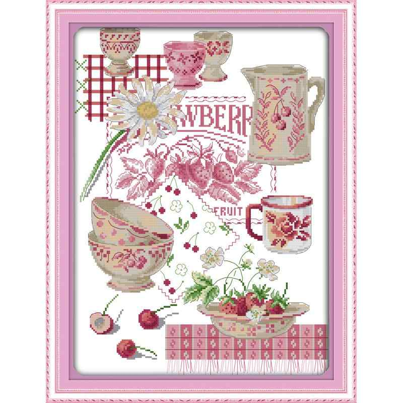 Kleur Fruit Servies Geteld Kruissteek Set Aida 14CT 11CT Chinese Stijl Kruissteek Kit Diy Diy Borduurwerk Woondecoratie