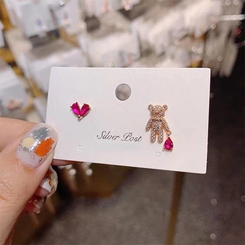 2020 New Arrival Heart Metal Women Trendy Stud Earrings Korean Earrings Ab Asymmetric Cute Bear  Love Earrings Jewelry Female