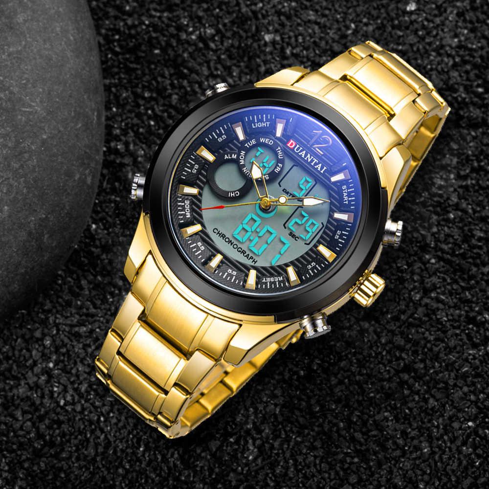 DuantaiกีฬานาฬิกาBig Face Goldนาฬิกาผู้ชายLCDสแตนเลสกันน้ำDual Time Zoneกลับทหารกลางแจ้ง
