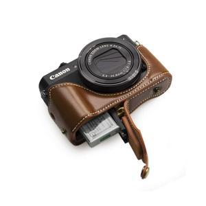 Image 4 - Роскошный чехол из искусственной кожи для камеры с ремешком и открытым аккумулятором для камеры Canon Powershot G7X Mark II III G7XII gs7xiii