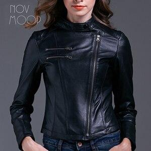 Image 3 - Черная женская кожаная куртка из овчины, узкая мотоциклетная байкерская куртка, пальто, chaqueta mujer jaqueta de couro LT1603