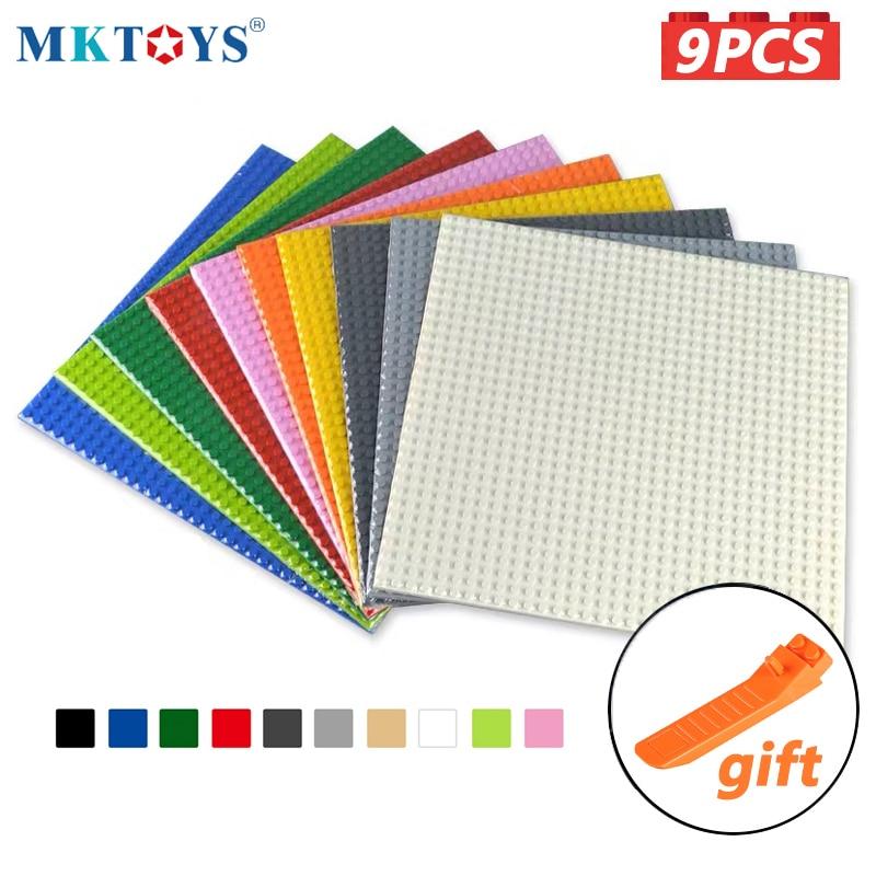 MKTOYS 9PCS Bricks Baseplates 32*32 Dots Classic Building Block Plate Constructor Toys for Children Gift Bricks Base Plate