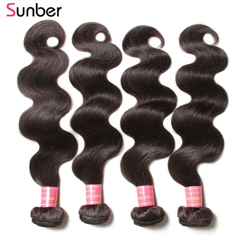 Sunber 毛ブラジル実体波人間の髪のバンドル 3/4 ピース自然な色ダブル横糸レミーヘア織りバンドル 8  30 インチ  グループ上の ヘアエクステンション & ウィッグ からの ヘアウィーブ の中 3