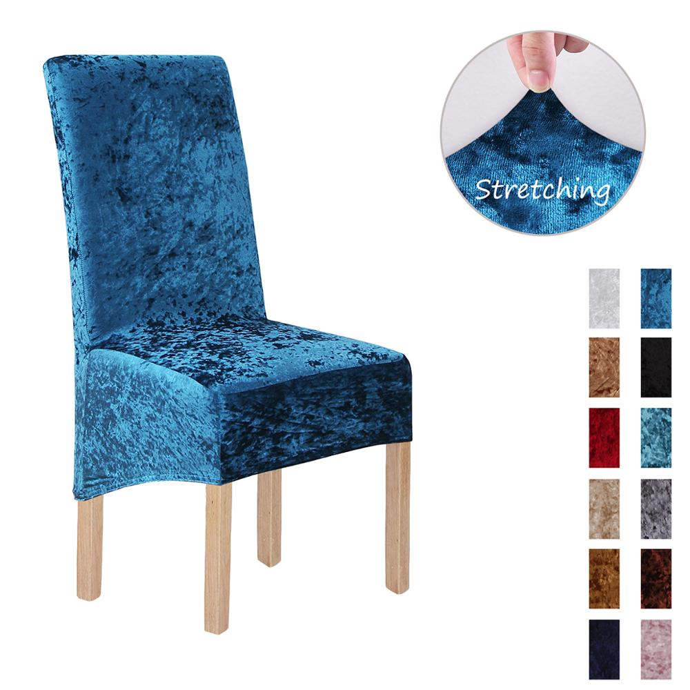 New Style Crushed Velvet Fabric Stretchable XL Chair Covers for Dining Chairs  Wedding Banquet Party  Chair Protective Slipcover 1