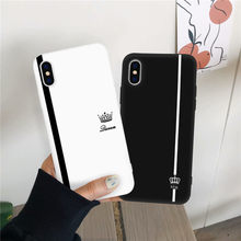 JAMULAR King Queen Lovers Couple Case For iPhone X XS MAX X XR 11 Pro 7 8 6 6s Plus Black White Silicone Soft Phone Cover Coque(China)