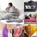 Ручная работа  одноцветная шерсть  мягкое теплое одеяло  коврик для дома  путешествия  прочный зимний  грубая шерсть  одеяло  практичное тепл...