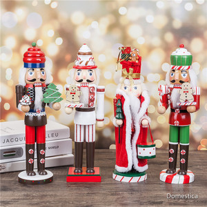 35CM Wood Nutcracker Puppet Soldier Shape Christmas Gift Kids Toys Classic Hand Painting Puppet Home Office Mall Window Decor
