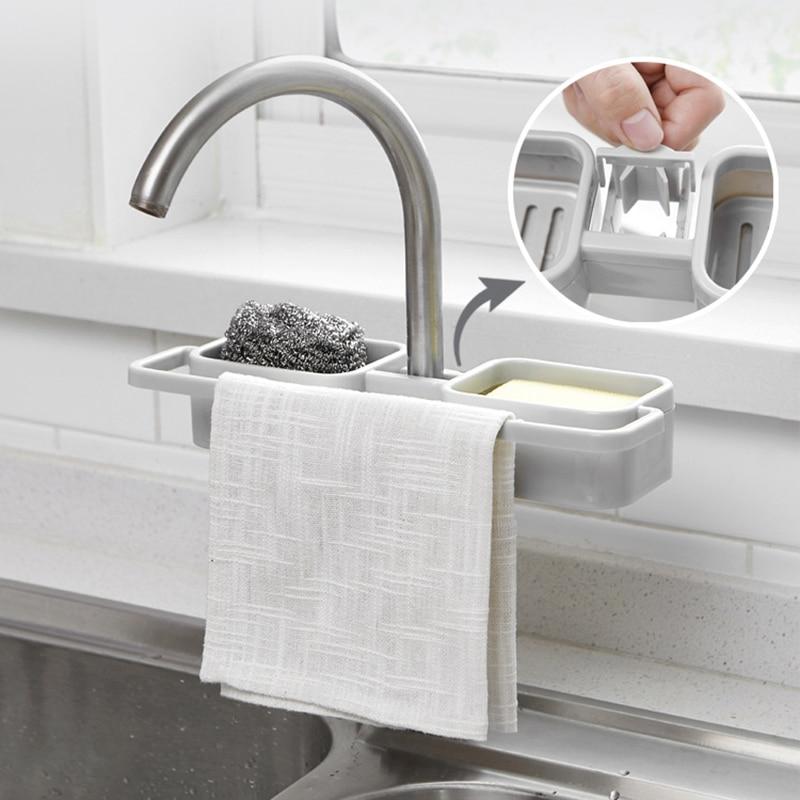 Faucet Drain Storage Rack Kitchen Sink Dish Cloth Sponge Holder Rack Bathroom Towel Soap Storage Box Shelf