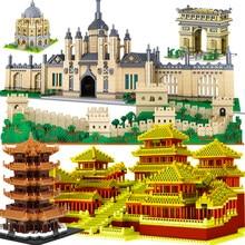 Mini Micro bloque Oxford, Torre Eiffel de Oxford, edificio de diamantes, Gran Pared, arquitectura China, universidad, Londres, París