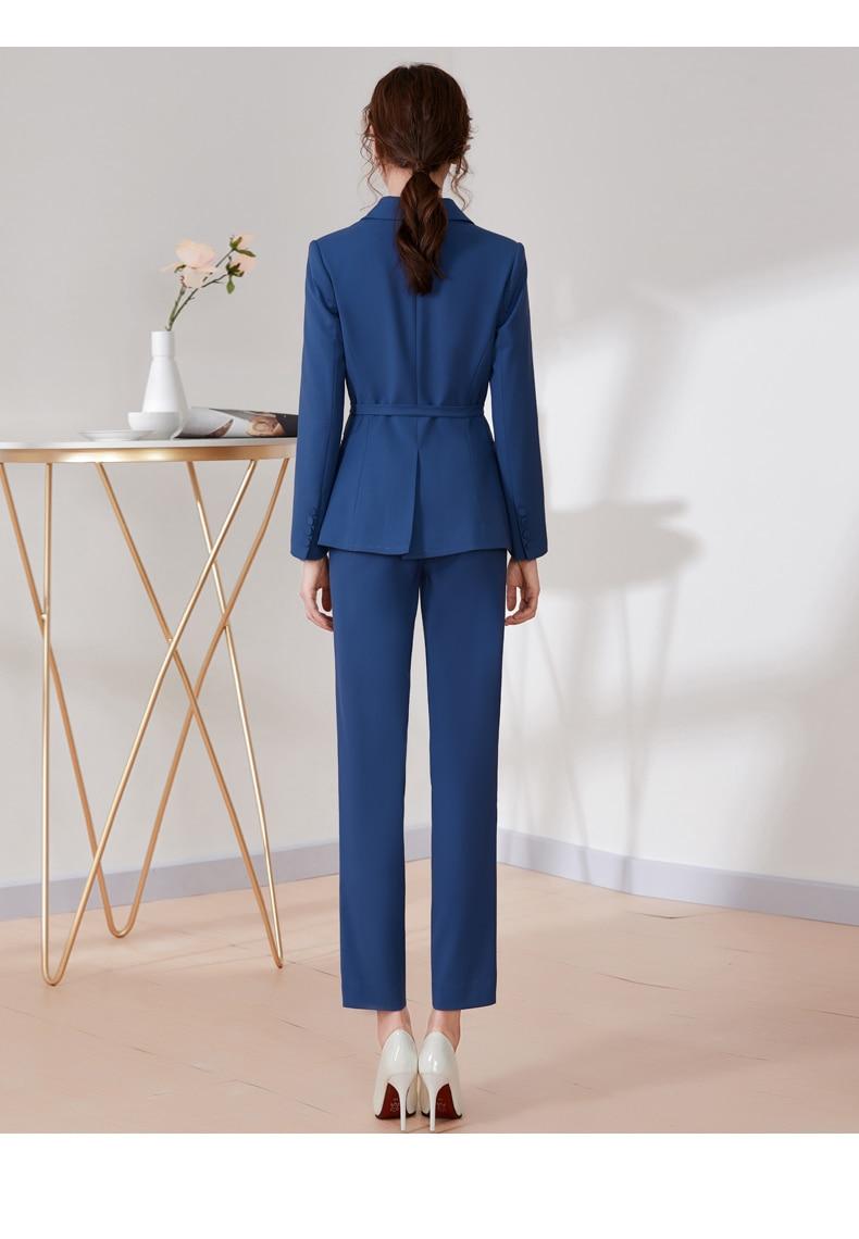 Women Blazer Pant Suits 2020 New 2 Piece Set For Women Double Breasted Lady Work Wear Long Sleeve Blazer Outerwear LX2616