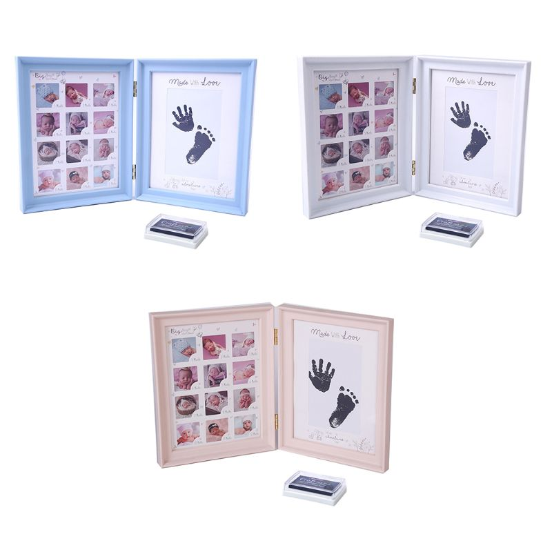 Newborn Baby Hand Foot Print Ink Pad Growth memorial Photo Frame Infant Full Moon Age Stamp Printing oil Toddler Display