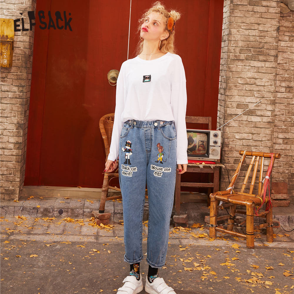 ELFSACK Blue Solid Cartoon Print Washed Straight Casual Jeans Woman 2020 Spring Pure Korean Style Ladies Daily Trousers