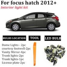 13x luzes interiores do carro acessórios kit para 2012 + ford focus hatch led interior mapa cúpula tronco intgerior t10 led festão luzes