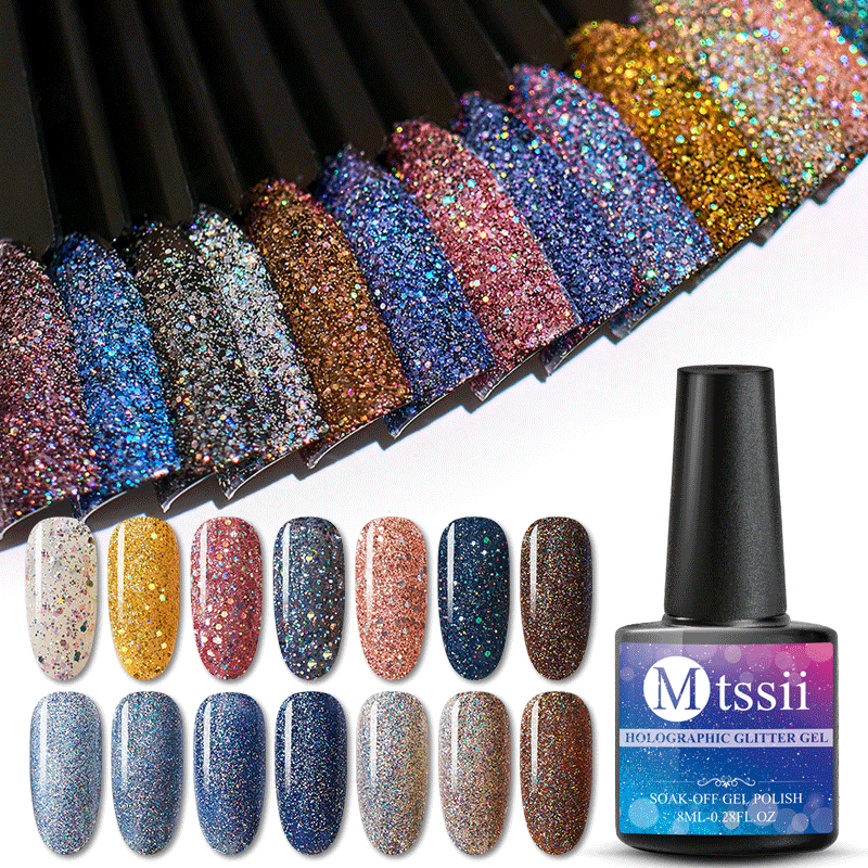 Mtssii 8 Ml Gel Nail Polish Glitter Platinum Uv Gel Cat Kuku Hologram Payet Gel Varnish Rendam Off UV LED warna Gel Polish