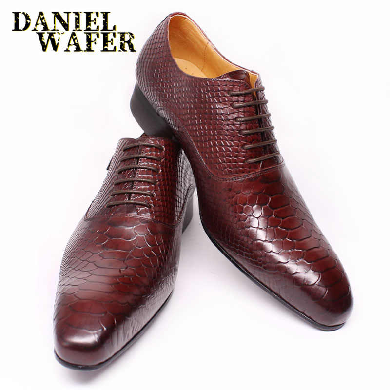 Fashion Men Leather Shoes Snake Skin Prints Men Office Dress Classic Style Burgundy Blue Lace Up Pointed Toe Oxford Shoes Men