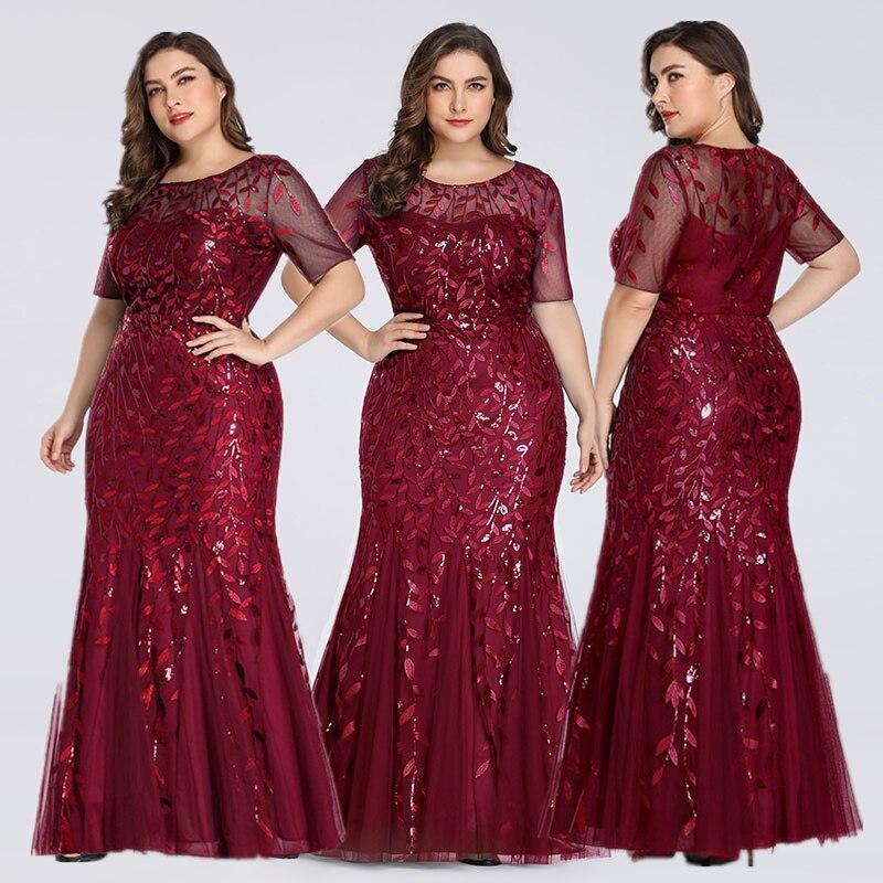 Queen Abby Вечерние платья Русалка с блестками Кружева Аппликации Элегантное Длинное платье русалки платье вечерние платья размера плюс - Цвет: Burgundy1