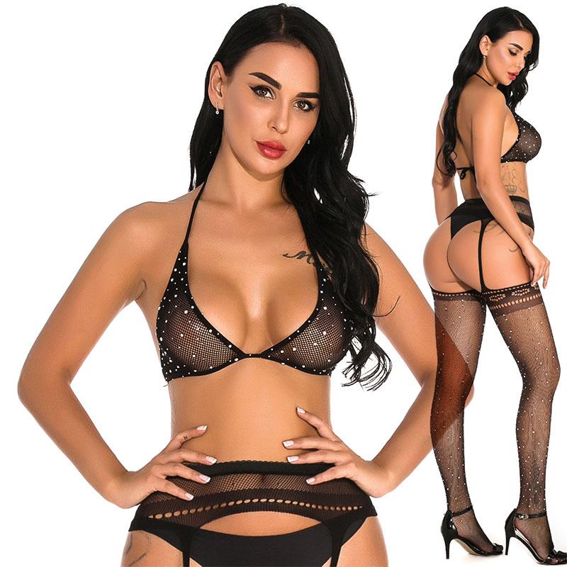 Lingerie arrastão feminina, preta, transparente, strass nylons, malha de diamante