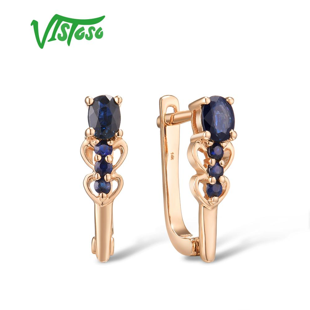 Boucles d'oreilles VISTOSO or pour femmes 14K 585 or Rose étincelant bleu saphir diamant élégant anniversaire de mariage bijoux fins
