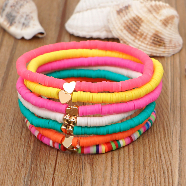 Go2Boho Heart Charm Bracelets Polymer Clay Bracelet For Female Summer Heishi Disc 4mm Beaded Braclets Women 2021 Fashion Jewelry 1