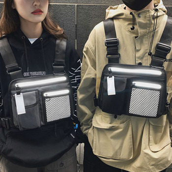 Trendy cool reflective tactical bag men and women hip-hop waistcoat bag vest waist bag functional tooling street chest bag