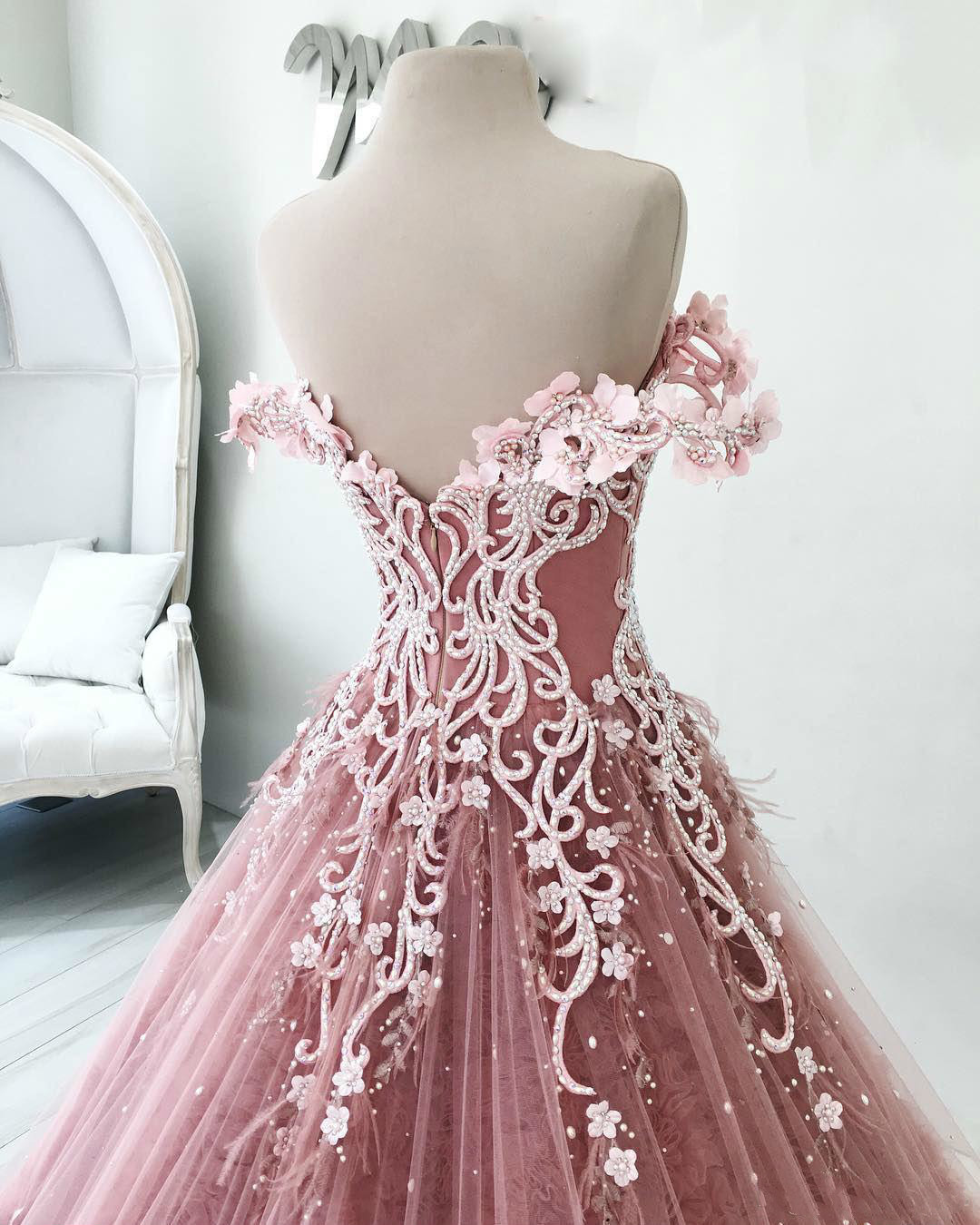 Image 3 - BGW 2241ht Butterfly Flowers Appliques Ball Gown Masquerade Quinceanera Dresses Off Shoulder Backless Floor Length Pageant GownsQuinceanera Dresses   -