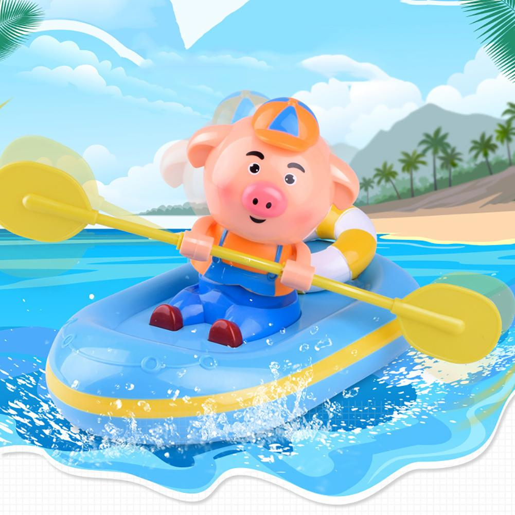 Baby Kids Pig Pair-Oars Rowing Boat Water Floating Bathing Swimming Bath Toy Suitable For Kids Using Bathing Swimming