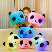 35cm brinquedo criativo travesseiro luminoso macio pelúcia recheado brilhante colorido panda almofada led luz brinquedos presente para crianças das crianças meninas
