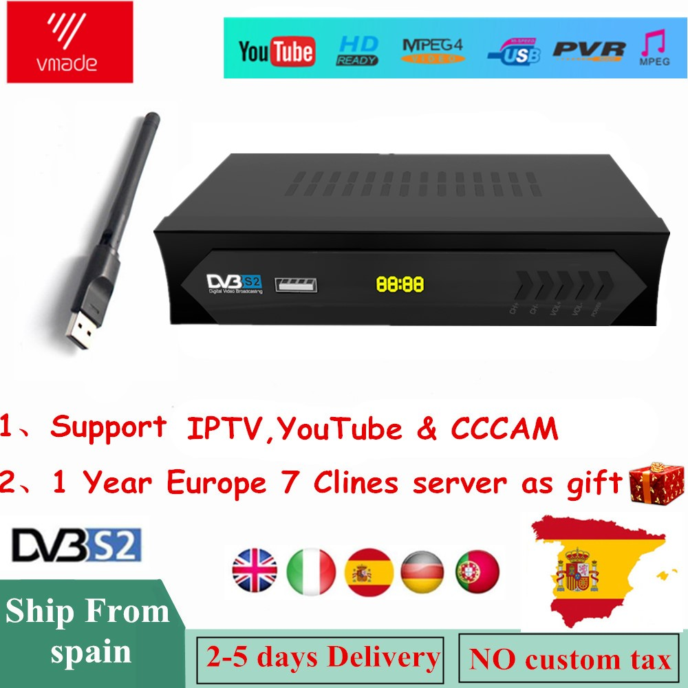 Vmade PK Freesat V7 Satellite TV Receiver V7S HD DVB-S2 M5 Support Powervu IPTV+USB WIFI With Free 7 Lines Europe Cline Account