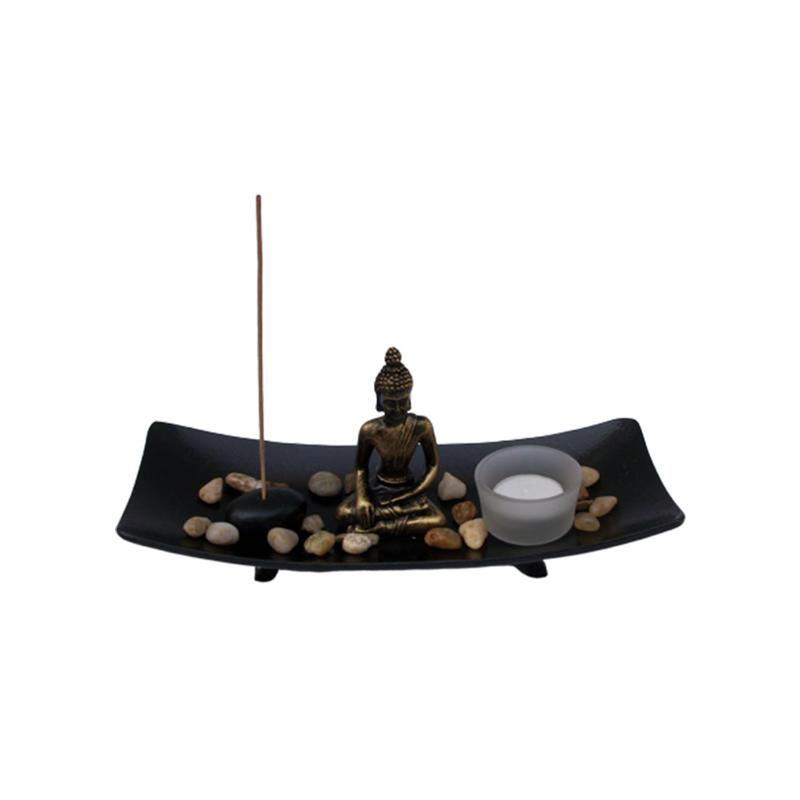 1pc Buddha Statue Adornment Creative Peaceful Feeling Meditation Zen Garden Buddha Statue Tray For Home