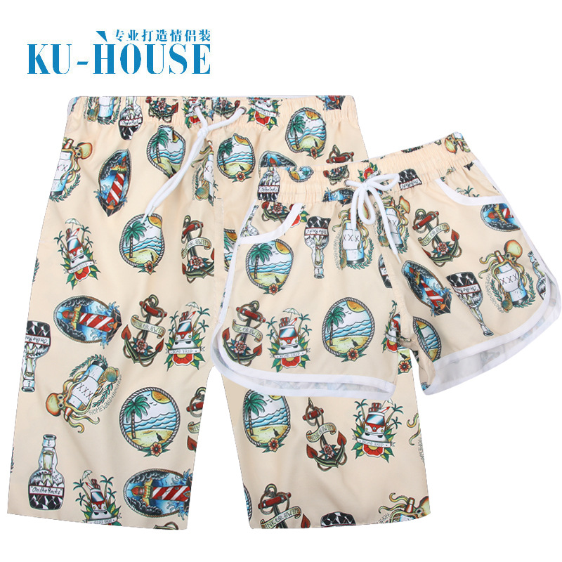 Beach Shorts Men's Quick-Dry Seaside Holiday Loose Couple Clothes Shorts Short Large Size Casual Boxer Swimming Large Trunks