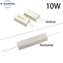 10PCS 10W Cement Ceramic Resistance Power Resistance 5% 0.1~100K 0.01 0.25 10 0.33 0.5 1 2 4.7 5 8 10 15 20 25 30 100R 1K 10KOhm