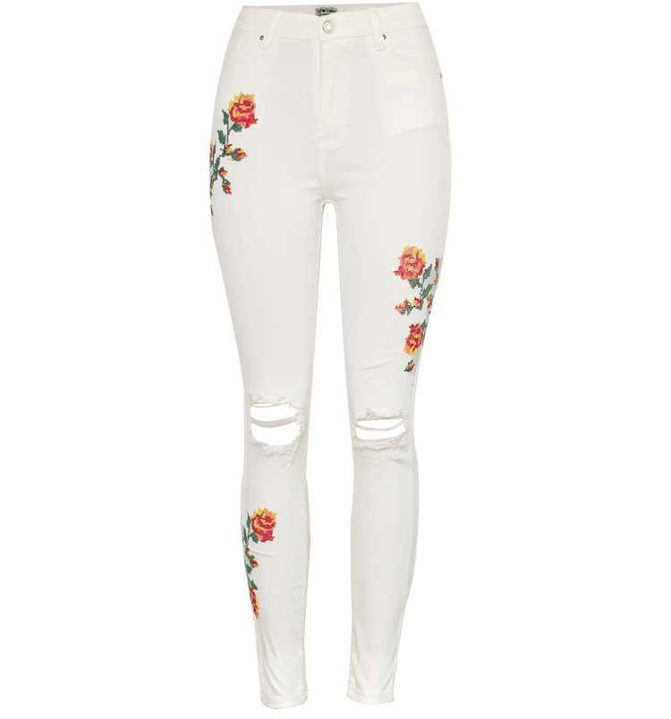 Для женщин Высокая талия эластичный крест вышитые бежевый белый раздавленные обтягивающие рваные джинсы Модные узкие джинсовые брюки для женщин