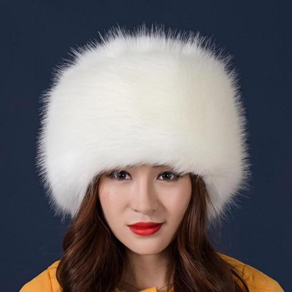 Warm Skullies & Beanies Imitation Fox Fur Round Flat Top Imitation Fur Hat Thickening Autumn Winter Plush Warm Bonnet Ski Hat