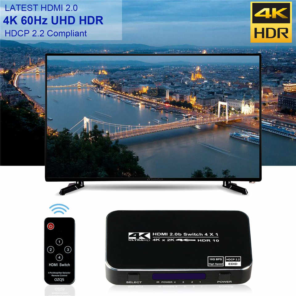 2020 4 portas 18 gbps hdr 4 k hdmi 2.0 switch 4x1 suporte hdcp 2.2 caixa do cubo do interruptor hdmi com ir mini interruptor hdmi remoto para ps4 360