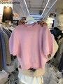 Корейские милые трикотажные пуловеры Nomikuma с коротким рукавом, повседневный женский свитер с круглым вырезом, новинка весны 2021, элегантные т...