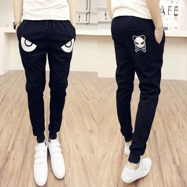 New Style Spring Men's Casual Small Foot Trousers Korean-style Monster Simple Printed Sports Teenager School