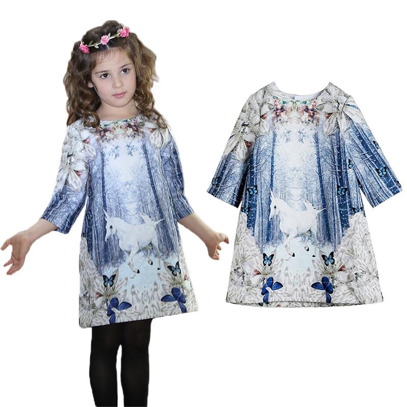 Unicórnio menina vestido primavera algodão menina vestido de princesa roupas da menina do bebê crianças casuais vestidos de festa para meninas 3-12 anos