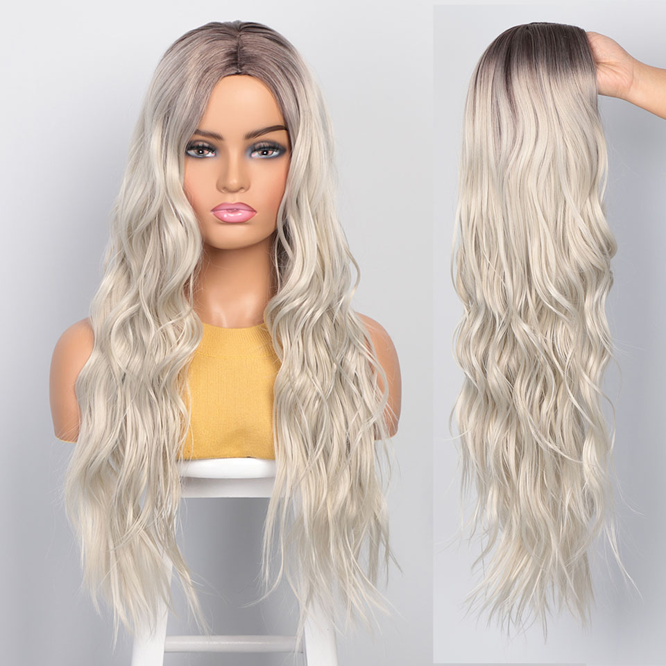 I's a wig Platinum Blonde Synthetic Wigs Long Wavy Ombre Blonde Wig for Women Black Grey Red Middle Part Women Wigs